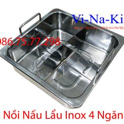 nồi nấu lẩu inox 4 ngăn