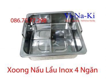 xoong nấu lẩu inox 4 ngăn