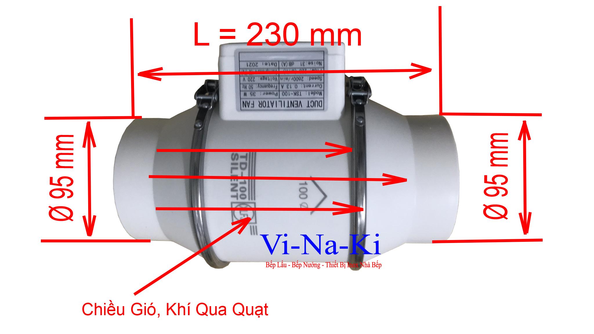 kích thước quạt hút mùi nối ống phi 100