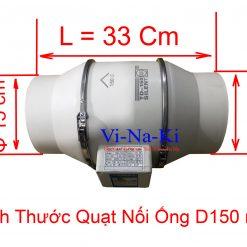 kích thước quạt nối ống d 150 mm