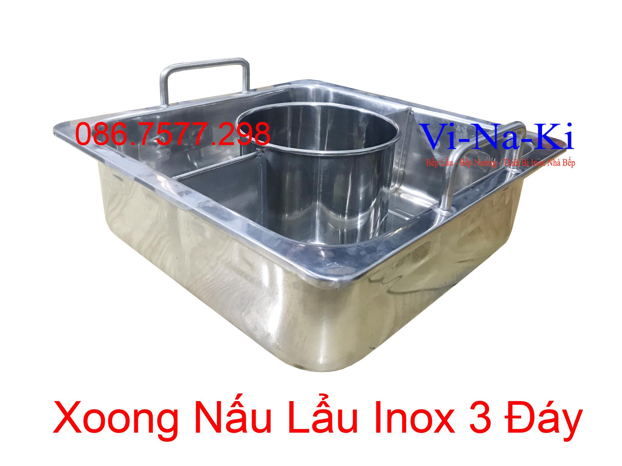 xoong nấu lẩu inox 3 đáy