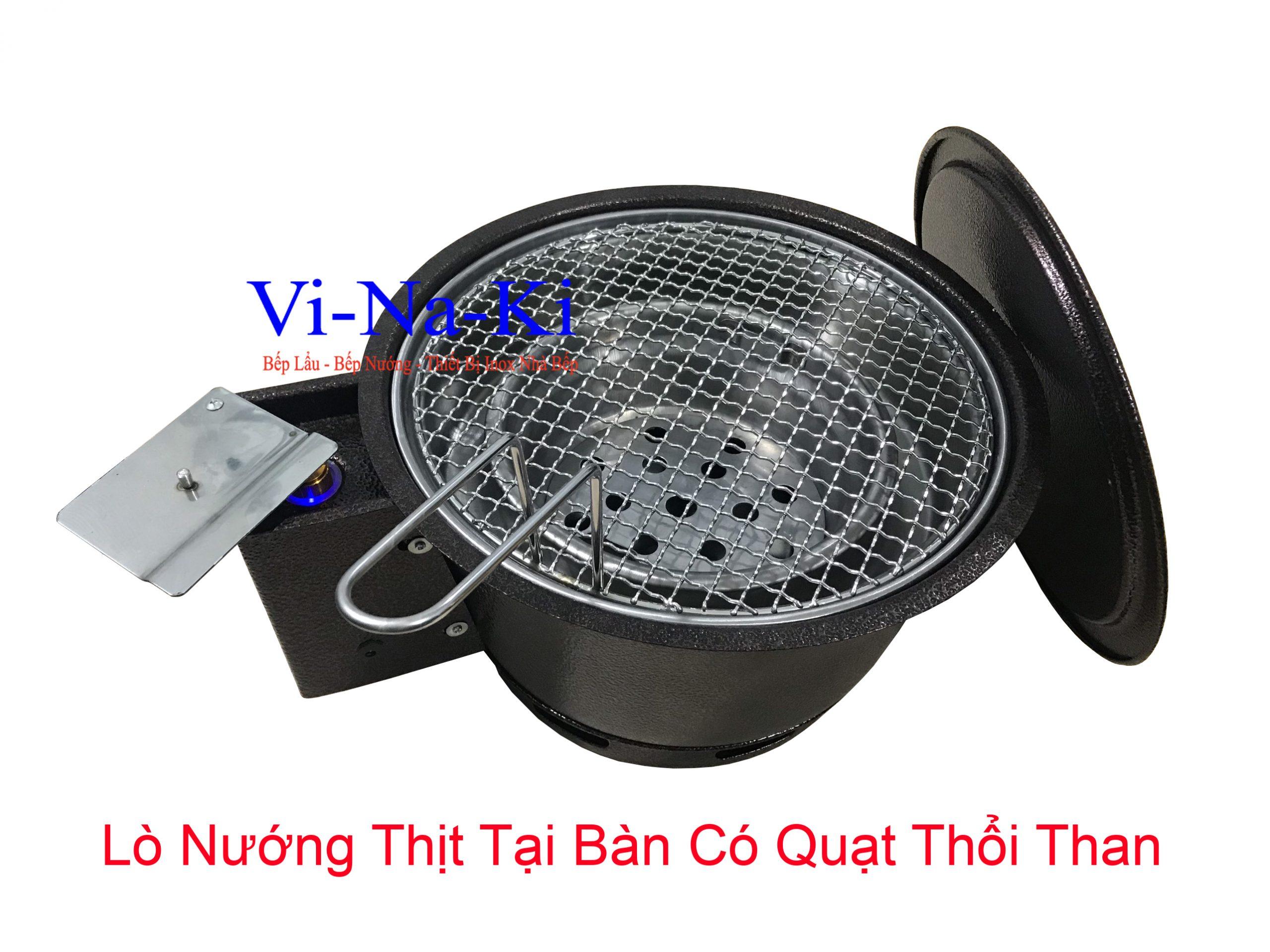 lò nướng thịt tại bàn có quạt thổi than